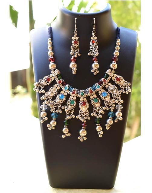 Oxidized Metal Jewellery Set-Multicolor Beads 4
