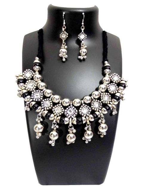 Oxidized Metal Jewellery Set-Black&White Beads 1