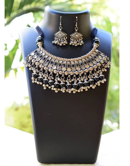 Oxidized Metal Jewellery Set-Black&White Beads