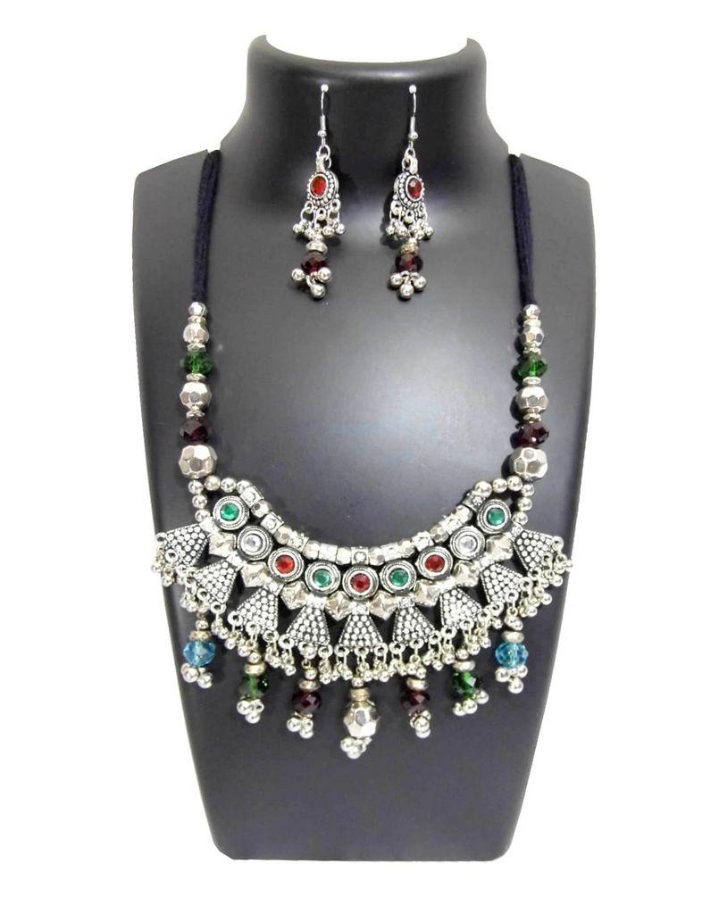 Oxidized Metal Jewellery Set-Multicolor Beads