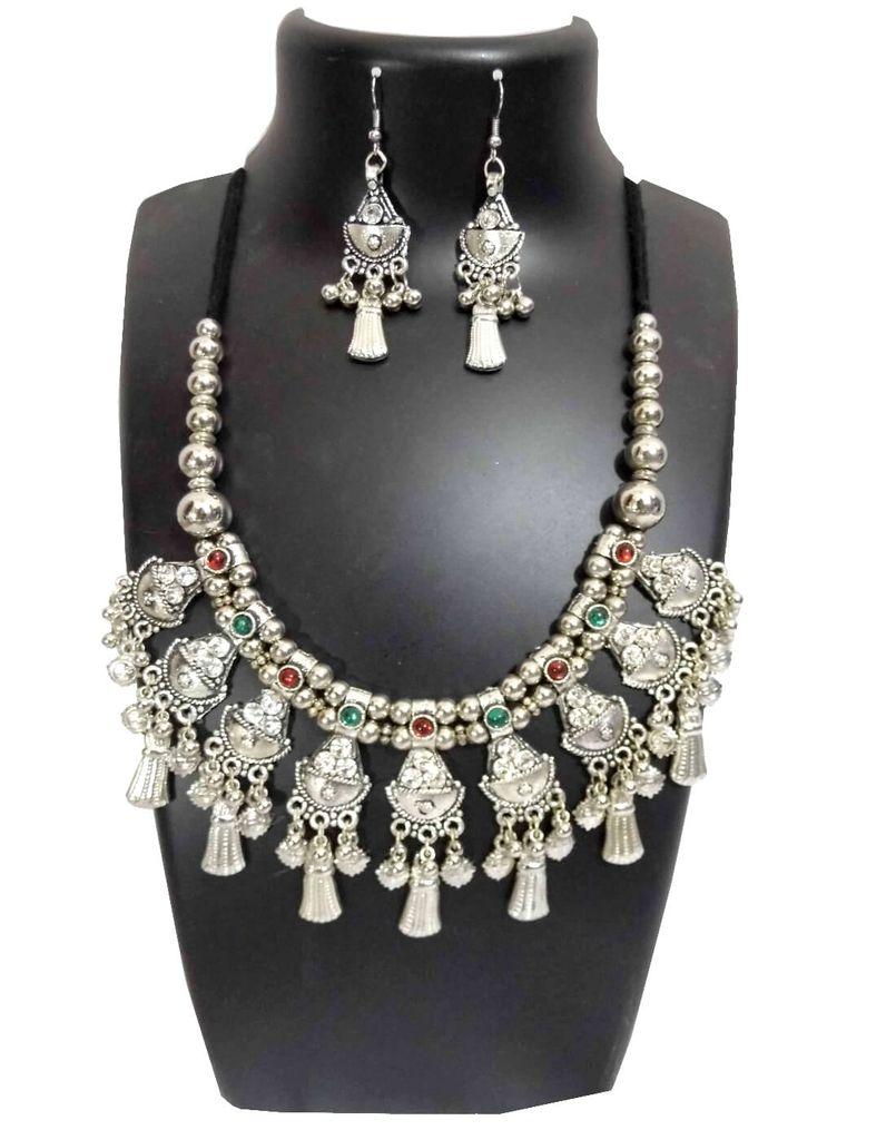 Oxidized Metal Jewellery Set-White Beads
