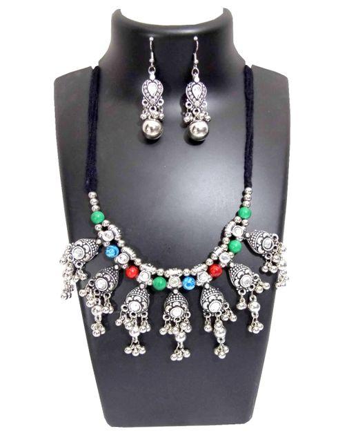 Oxidized Metal Jewellery Set-Multicolor Beads 1