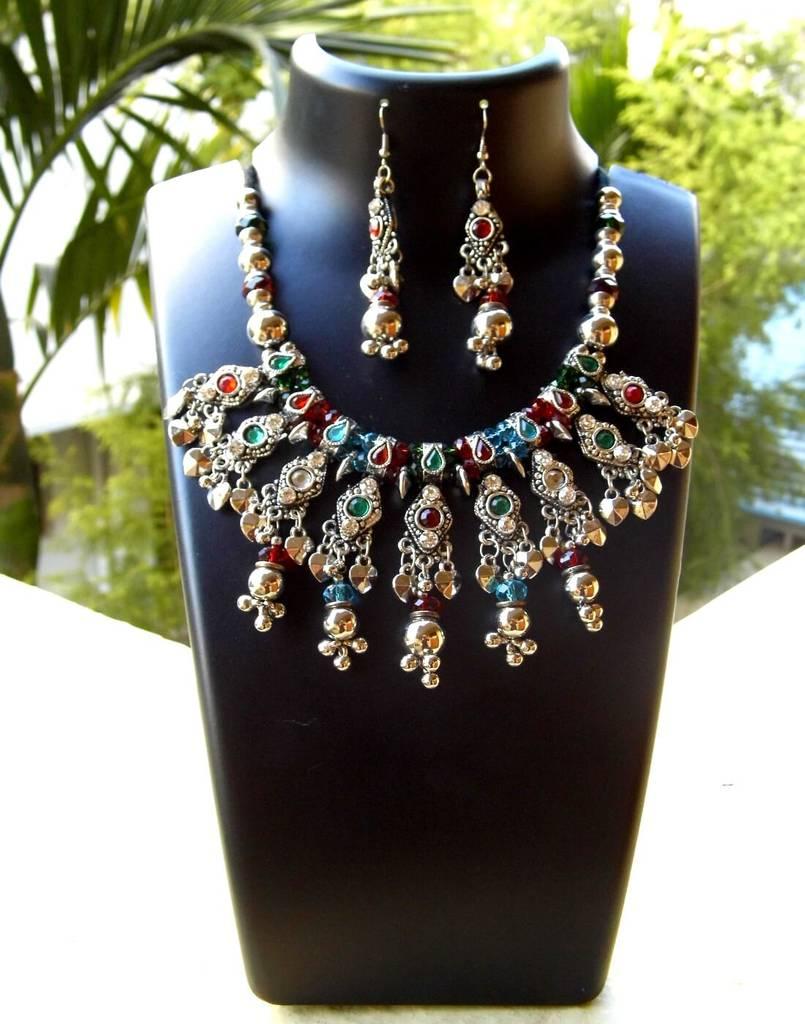 Oxidized Metal Jewellery Set-Multicolor Beads 3