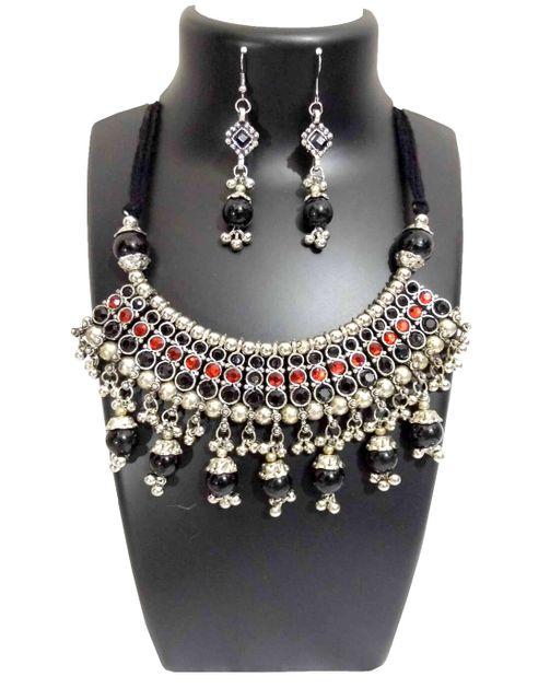 Oxidized Metal Jewellery Set-Black&Red