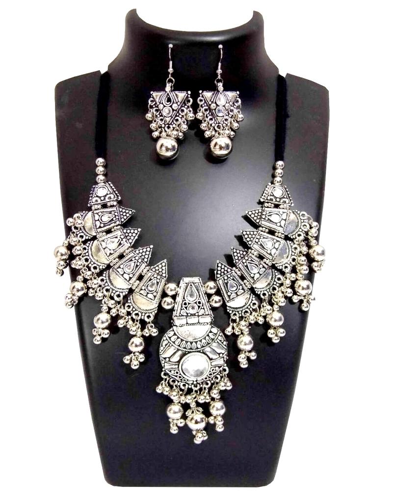 Oxidized Metal Jewellery Set- White Beads Pendant 1