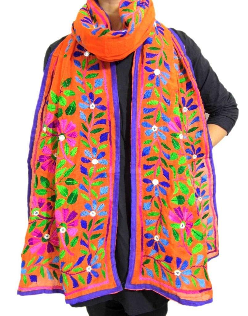 Chanderi Hand Embroidered Stole-Orange