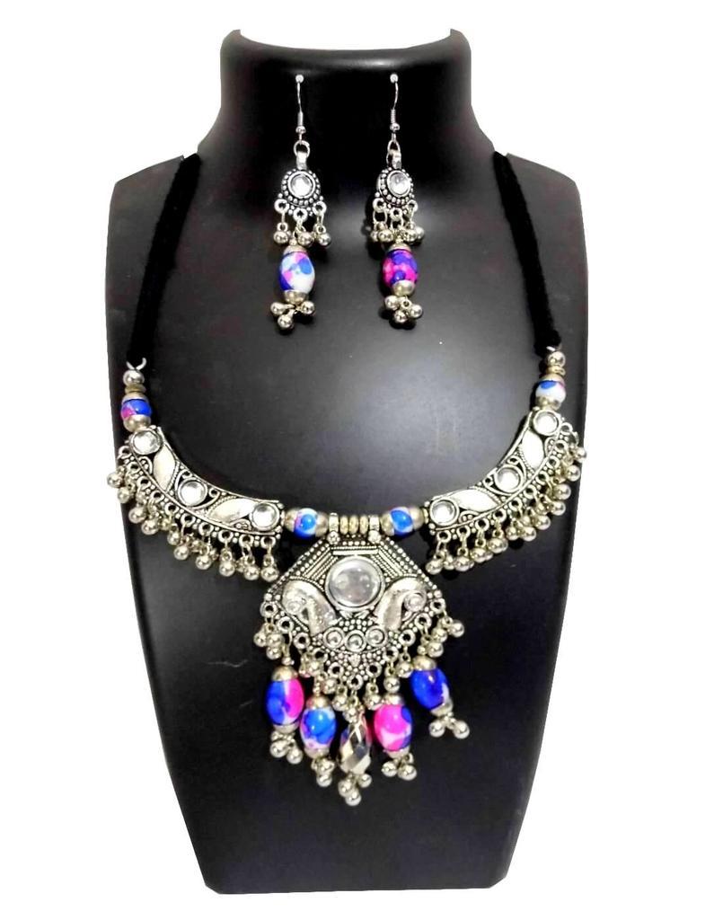 Oxidized Metal Jewellery Set- White&Blue Beads Pendant 1