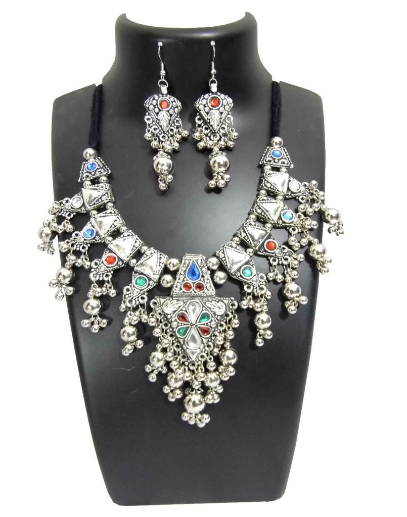 Oxidized Metal Jewellery Set- Multicolor Beads Pendant 3
