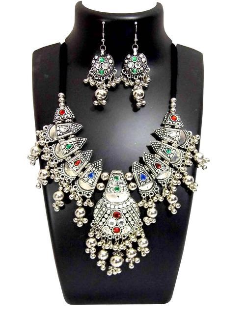 Oxidized Metal Jewellery Set- Multicolor Beads Pendant 2