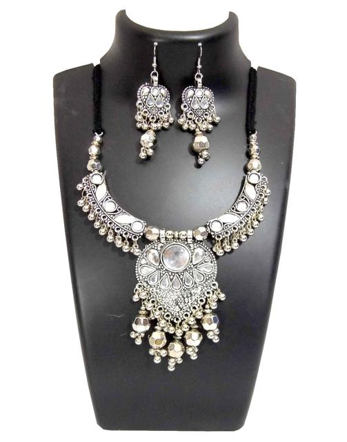 Oxidized Metal Jewellery Set- White Beads Pendant 2
