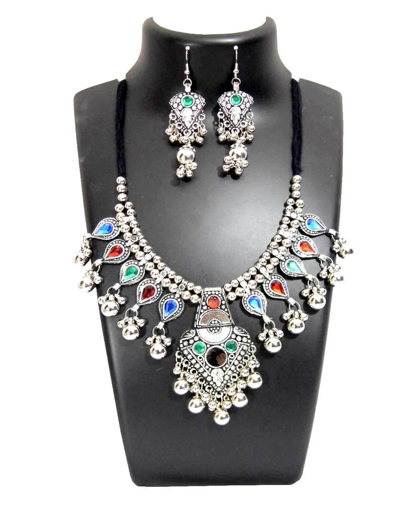 Oxidized Metal Jewellery Set-Multicolor Beads Pendant 4