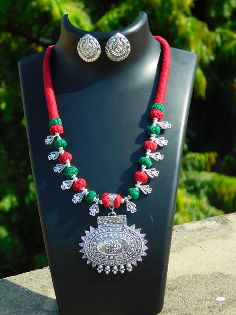 Threaded German Silver Necklace Set with Sun Pendant & Studs- Red&Green