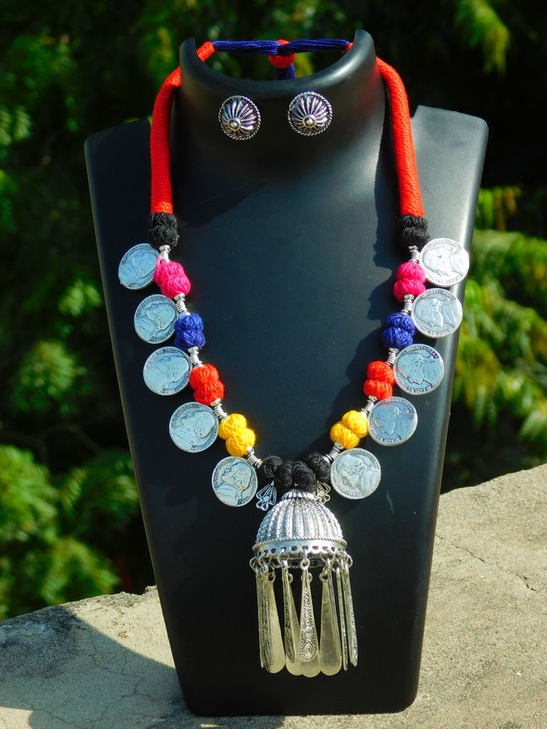 Threaded German Silver Necklace Set with Dome Pendant- Multicolored