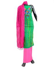 Cotton Parsi Work Salwar Suit- Pink&Green