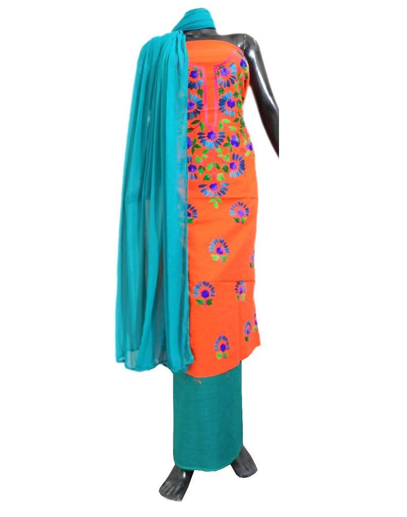 Cotton Parsi Work Salwar Suit- Orange&Blue