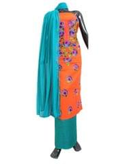 Cotton Parsi Work Salwar Suit- Orange&Blue