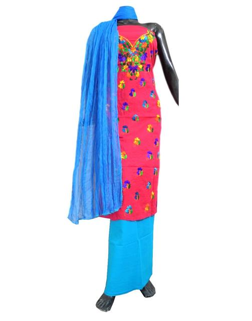 Cotton Parsi Work Salwar Suit-Pink&Blue