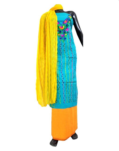 Cotton Parsi Work Salwar Suit-Yellow&Turquoise