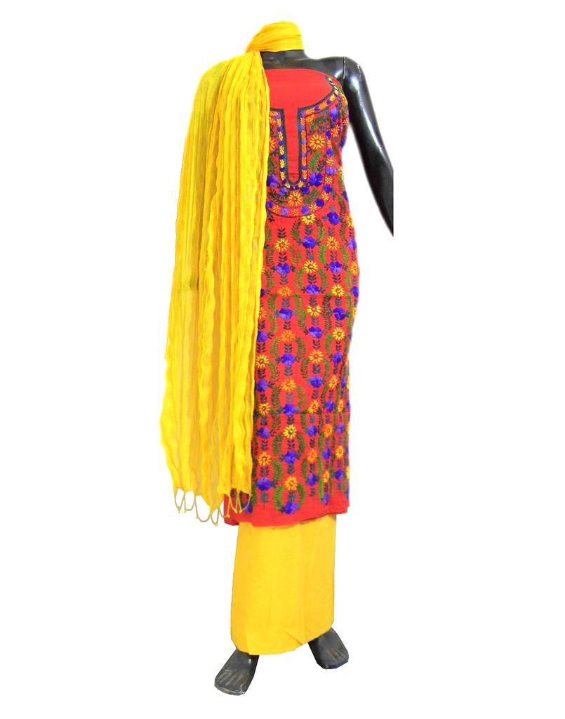 Cotton Champa Work Salwar Suit-Red&Yellow