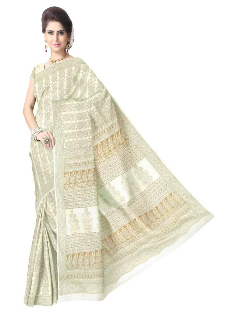 Bagh Print Cotton Saree-White