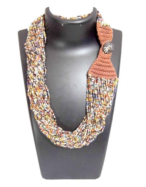 Handmade Multistrand Bead Necklace- Multicolor