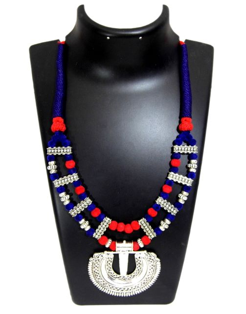 Double Strand Threaded German Silver Necklace- Blue&Red
