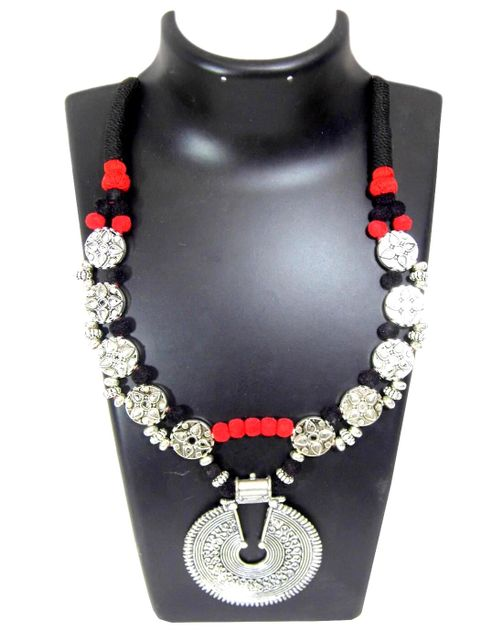 Double Strand Threaded German Silver Necklace- Black&Red