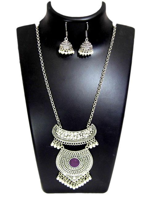 German Silver Jewellery Set- Dark Purple Bead Pendant