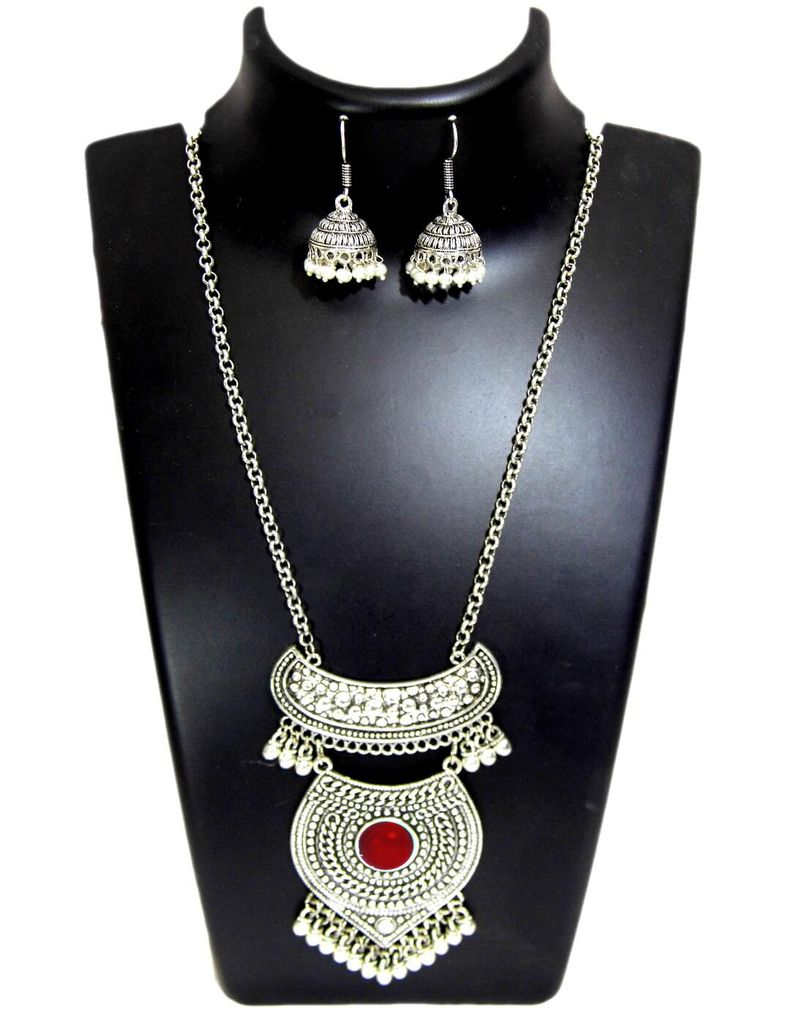German Silver Jewellery Set-Maroon Bead Pendant