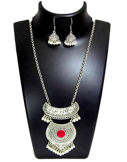 German Silver Jewellery Set- Red Bead Pendant