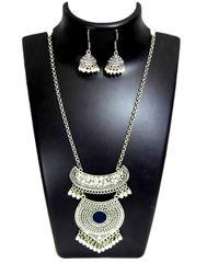 German Silver Jewellery Set- Black Bead Pendant