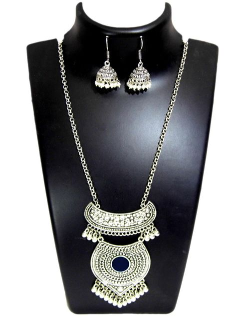 German Silver Jewellery Set- Black Bead Pendant