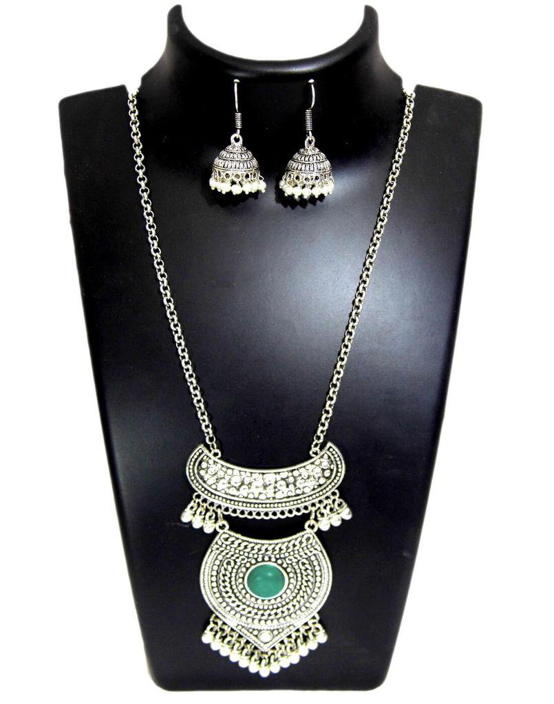 German Silver Jewellery Set- Dark Sea Green Bead Pendant