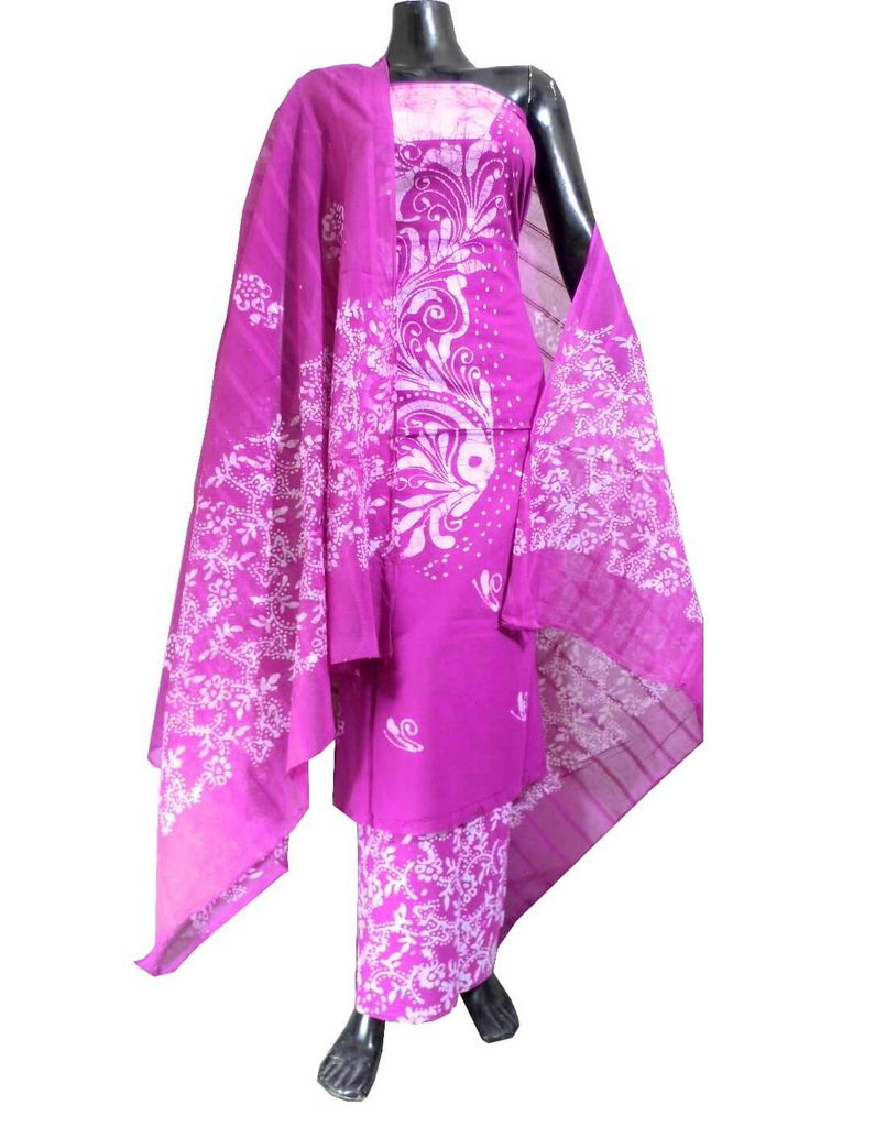 Cotton Batik Print Salwar Suit-Fuschia