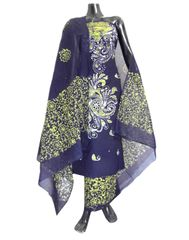 Cotton Batik Print Salwar Suit-Indigo Blue&Yellow