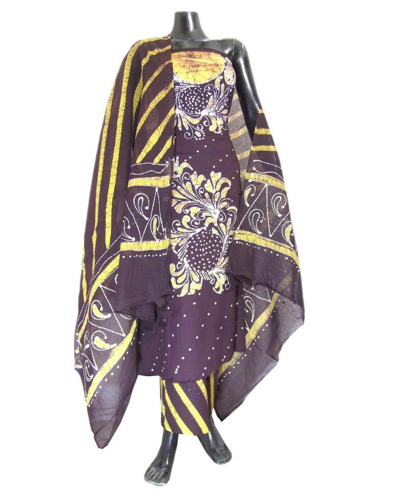 Cotton Batik Print Salwar Suit-Brown&Yellow
