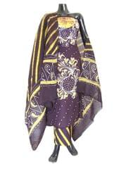 Cotton Batik Print Salwar Suit-Brown&Yellow