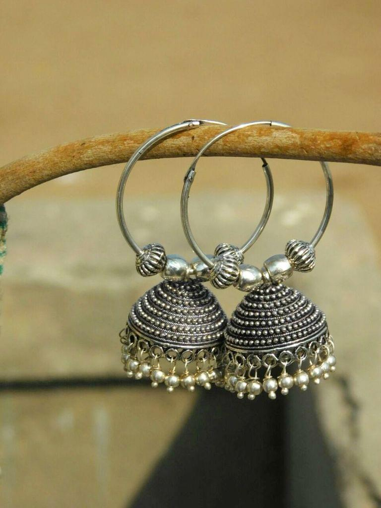 German Silver Hoop Earrings- Polka Dot Engraving
