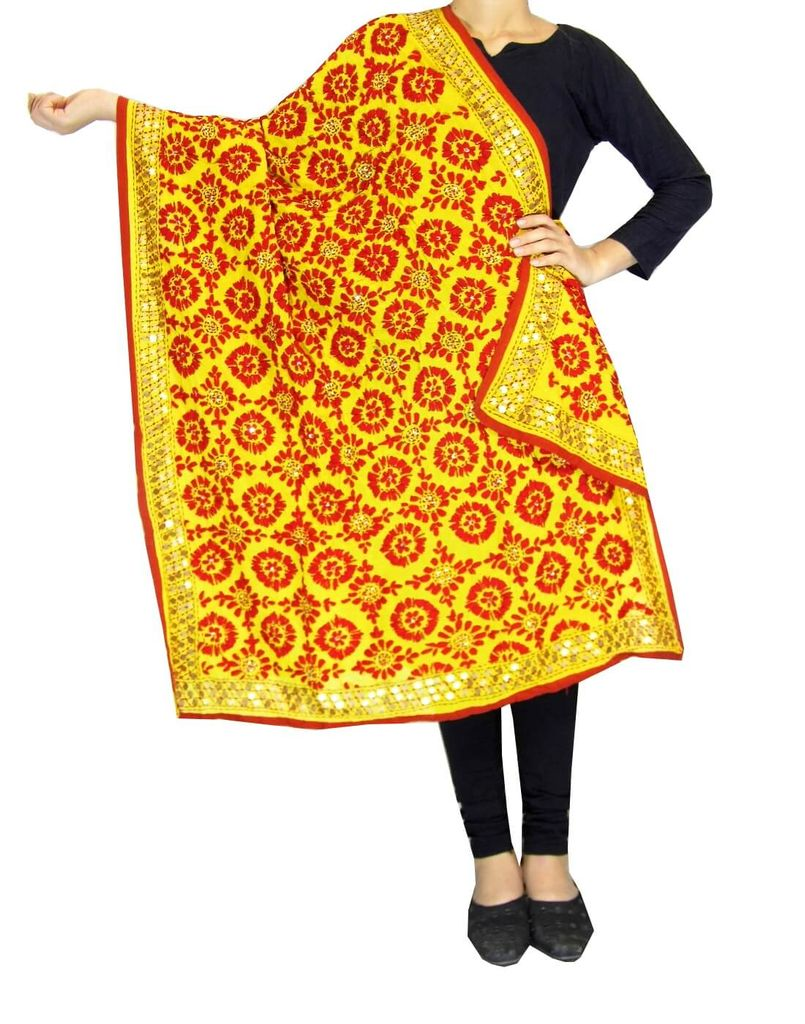 Phulkari Work Georgette Dupatta-Yellow&Red
