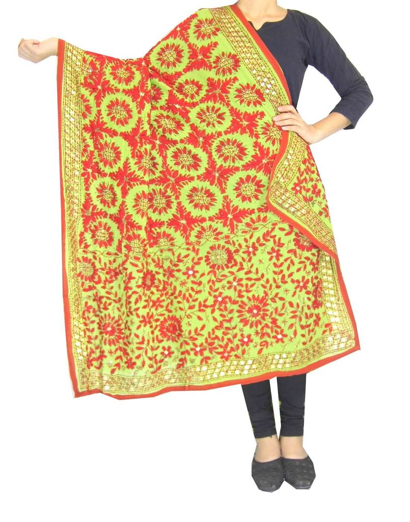Phulkari Work Georgette Dupatta-Sea Green