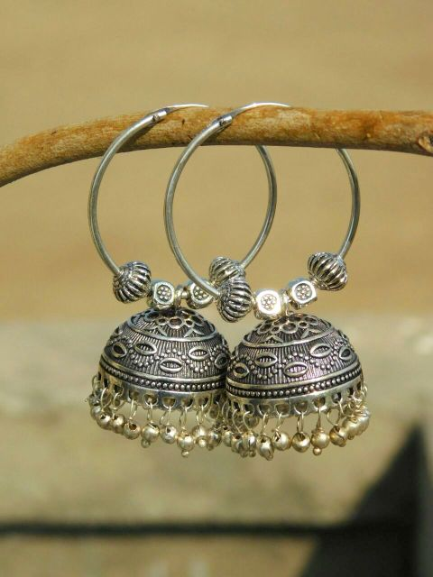 German Silver Hoop Earrings- Silver Bead jhumkas 2