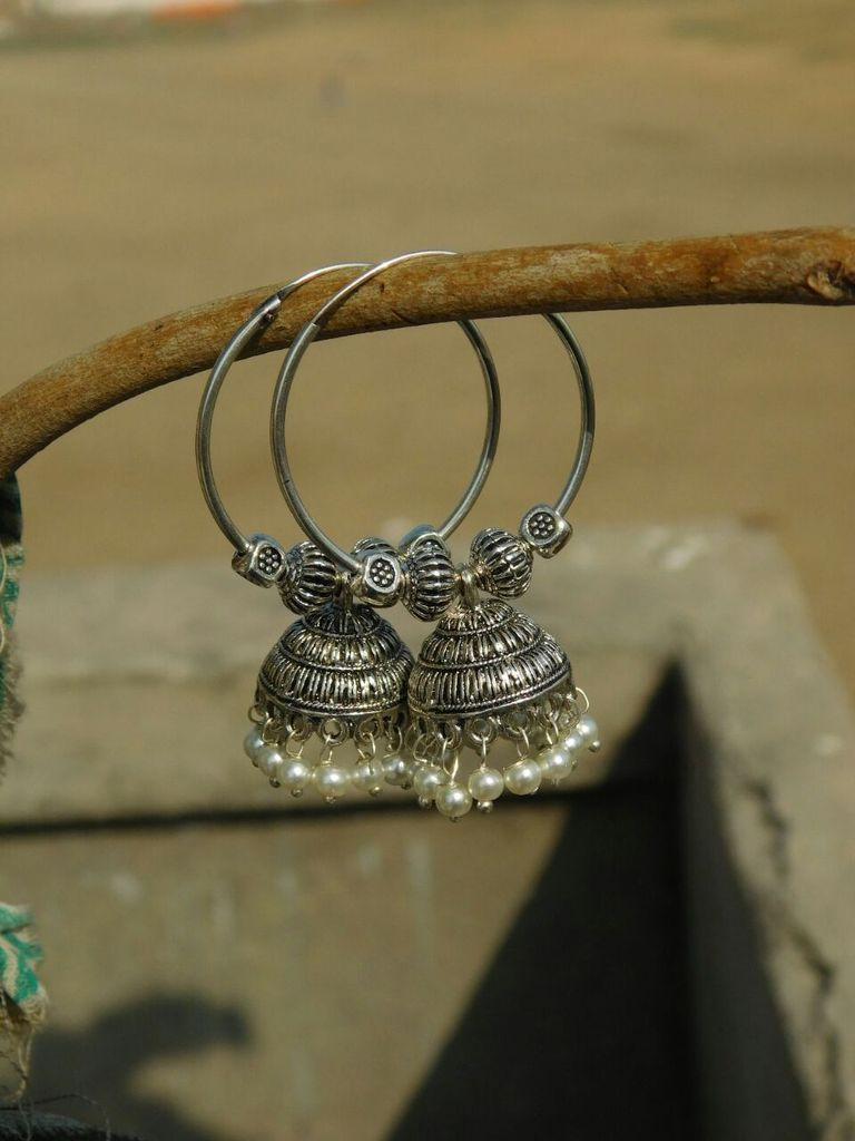 German Silver Hoop Earrings- Pearl Bead Jhumkas 2