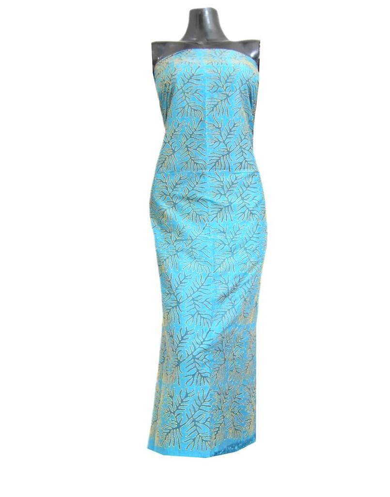 Tussar Silk Kantha Kurta Piece with Handblock Print- Turquoise