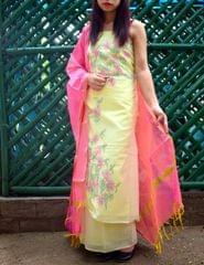 Cotton Shadow Work Salwar Suit- Lemon Yellow&Pink