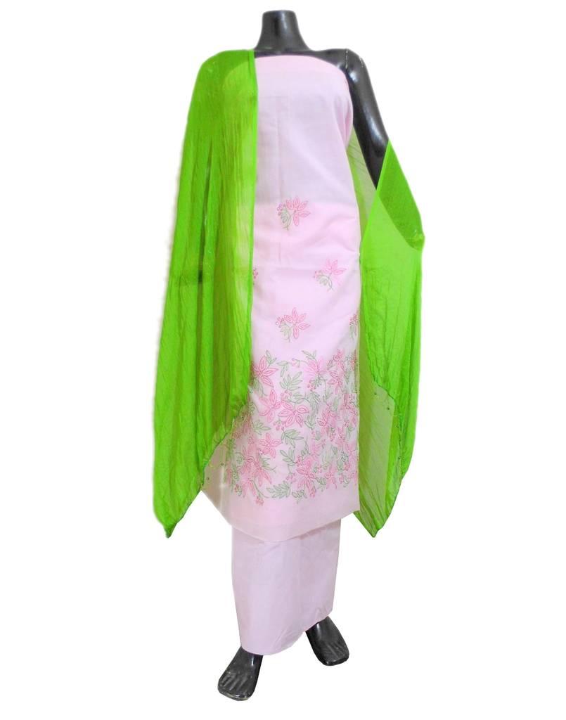 Cotton Shadow Work Salwar Suit- Light Pink