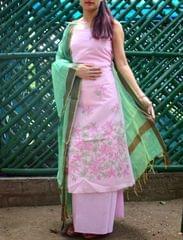 Cotton Shadow Work Salwar Suit- Light Pink&Green