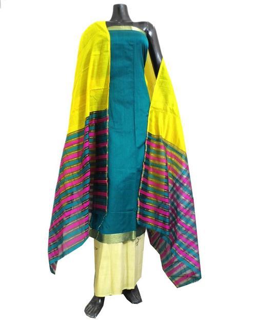 Chanderi Silk Salwar Suit-Peacock Blue&Yellow