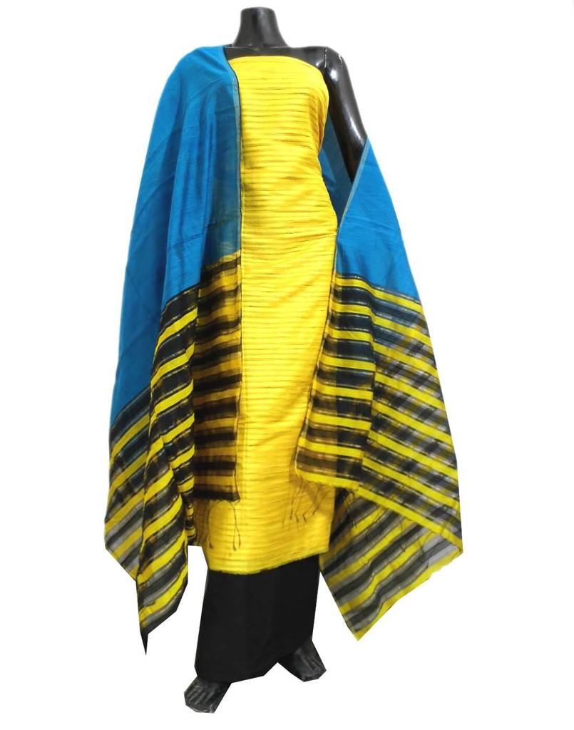 Matka Silk Salwar Suit- Yellow&Blue