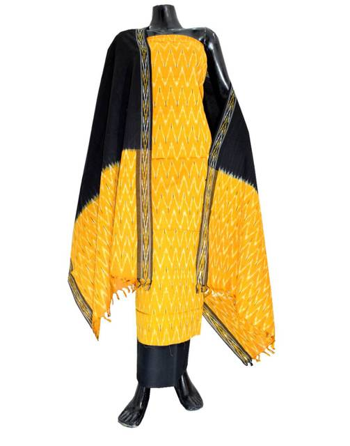 Handloom Cotton Ikat Salwar Suit- Yellow&Black