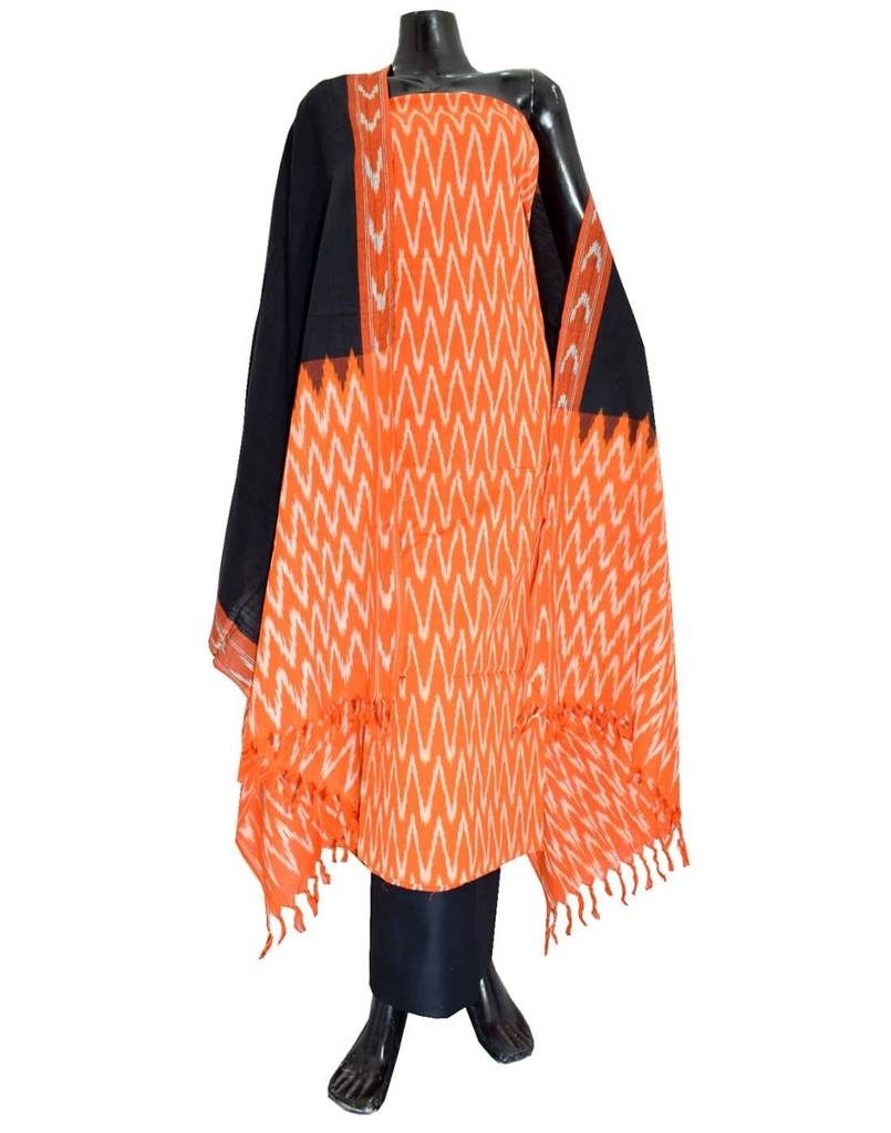 Handloom Cotton Ikat Salwar Suit- Orange&Black